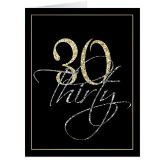 Formal Silver, Black & Gold 30th Birthday Party Big Greeting Card