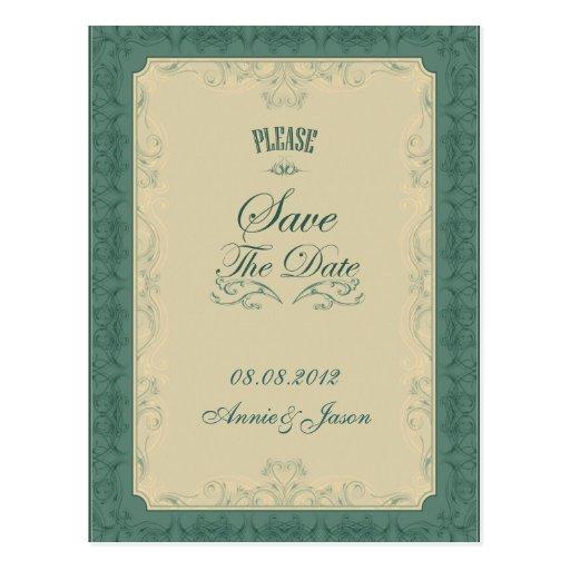 Formal Teal Champagne SaveTheDate Postcard