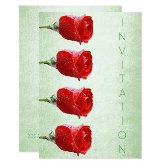 Formal Vip Roses Purple Green Pastel Pearly 9 Cm X 13 Cm Invitation Card
