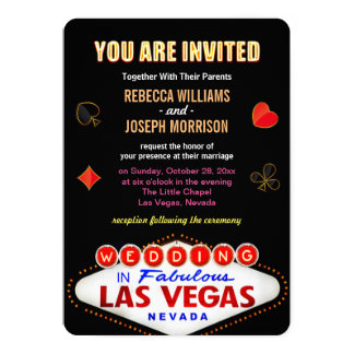 Formal Wedding in Fabulous Las Vegas Sign Poker 13 Cm X 18 Cm Invitation Card