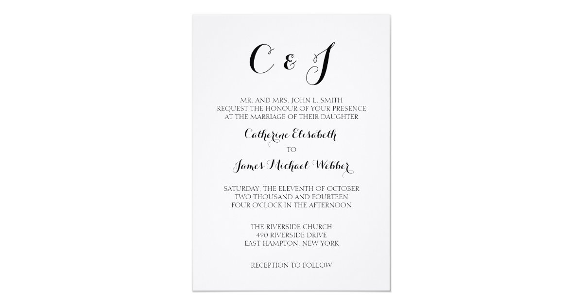 Formal Wedding Invitation Templates: Formal Wedding Invitation Wording Bride's Parents