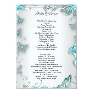 Formal Wedding Program Blue 13 Cm X 18 Cm Invitation Card
