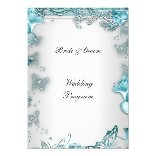 Formal Wedding Program Blue Personalized Announcement