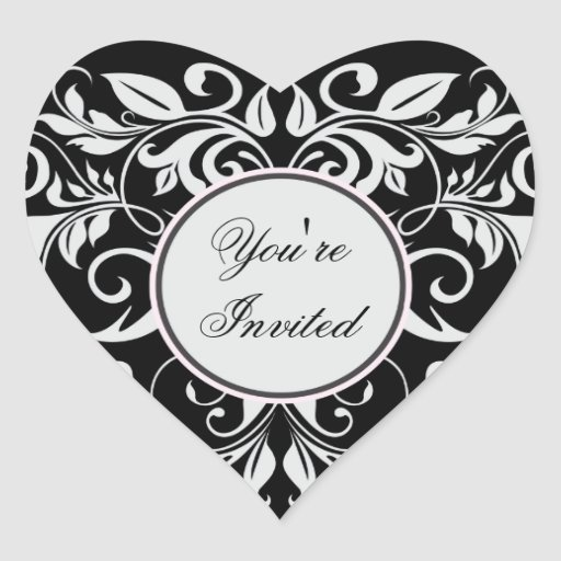 Formal White Damask Black Heart Wedding Stickers