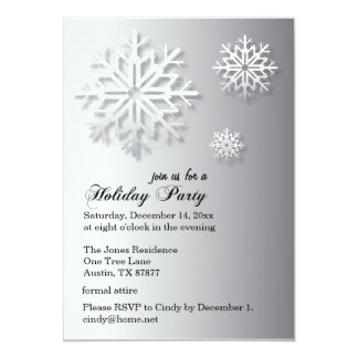 Formal Winter Holiday Party | Snowflakes | Grey 13 Cm X 18 Cm Invitation Card