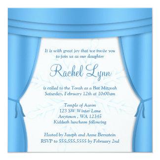Formal Winter Wonderland Snowflake Bat Mitzvah 13 Cm X 13 Cm Square Invitation Card