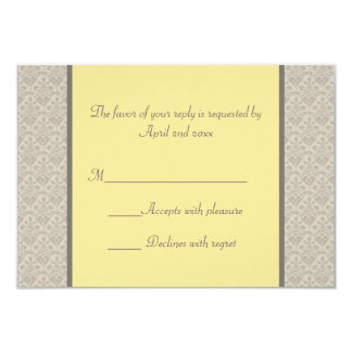 Formal Wording Yellow And Gray Wedding RSVP Card 9 Cm X 13 Cm Invitation Card