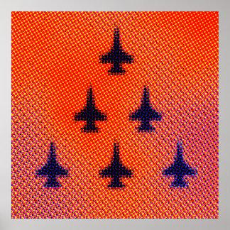 Formation of F16s in Orange. Pop Art Poster