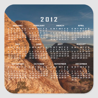 Formations in Red Rock; 2012 Calendar Square Sticker
