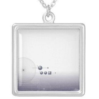 Formula, graph, math symbols 4 silver plated necklace