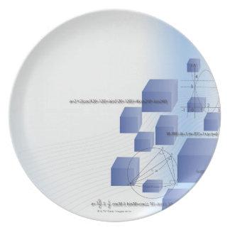 Formula, graph, math symbols 5 plate