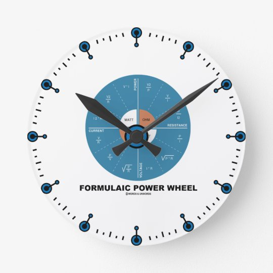 Formulaic Power Wheel (Physics Equations) Wall Clocks