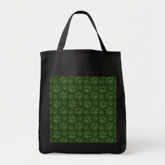 Forrest green dog paw print pattern canvas bags