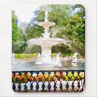 Forsyth Fountain in Savannah GA Watercolor Print Mouse Pad