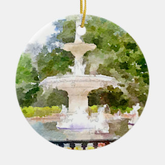 Forsyth Fountain in Savannah GA Watercolor Print Round Ceramic Decoration