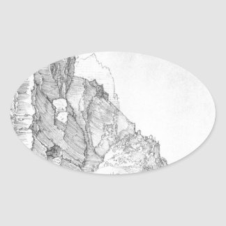 Fort between mountains and sea by Albrecht Durer Oval Sticker