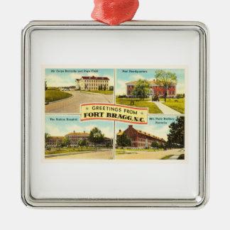 Fort Bragg # 2 North Carolina NC Vintage Souvenir- Silver-Colored Square Decoration