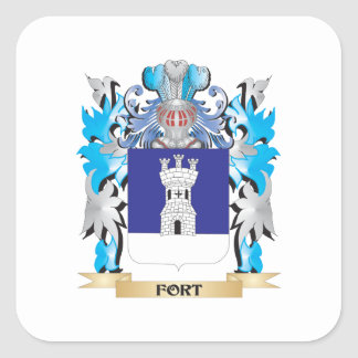 Fort Coat of Arms - Family Crest Square Stickers