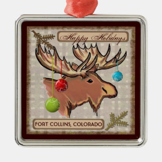 Fort Collins Colorado artistic moose ornament