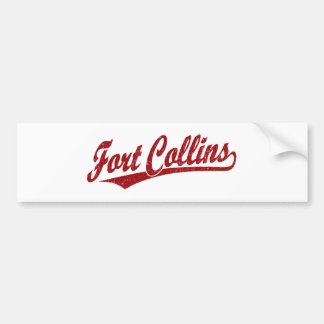 Fort Collins script logo in red Bumper Sticker