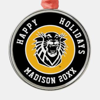 Fort Hays State Primary Mark | Black & White Logo Christmas Ornament