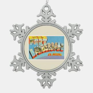 Fort Lauderdale #2 Florida FL Old Travel Souvenir Pewter Snowflake Decoration