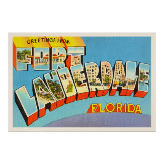 Fort Lauderdale #2 Florida FL Old Travel Souvenir Poster