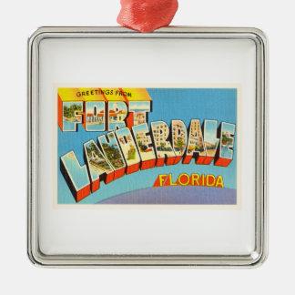 Fort Lauderdale #2 Florida FL Old Travel Souvenir Silver-Colored Square Decoration
