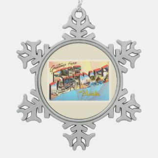 Fort Lauderdale Florida FL Vintage Travel Souvenir Pewter Snowflake Decoration