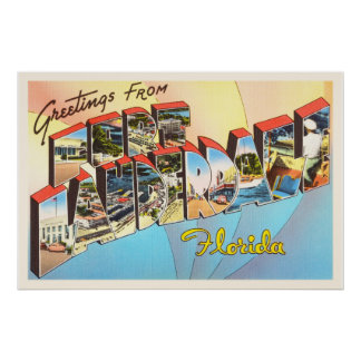 Fort Lauderdale Florida FL Vintage Travel Souvenir Poster