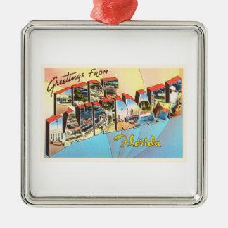 Fort Lauderdale Florida FL Vintage Travel Souvenir Silver-Colored Square Decoration