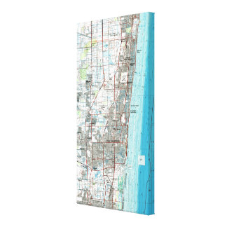 Fort Lauderdale Florida Map (1985) Canvas Print