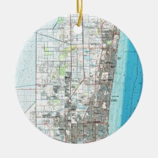 Fort Lauderdale Florida Map (1985) Christmas Ornament