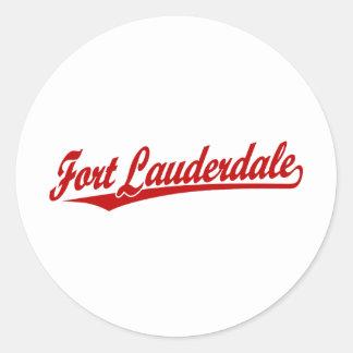 Fort Lauderdale in Red Round Sticker