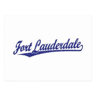 Fort Lauderdale script logo in blue Postcard