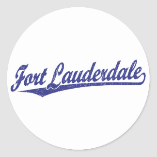 Fort Lauderdale script logo in blue Round Sticker