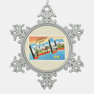Fort Lee Virginia VA Old Vintage Travel Postcard- Snowflake Pewter Christmas Ornament