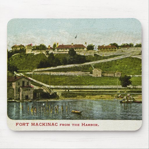 Fort Mackinac from the Harbor Vintage Mouse Pads