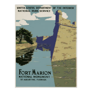 Fort Marion National Monument Vintage Travel Poster