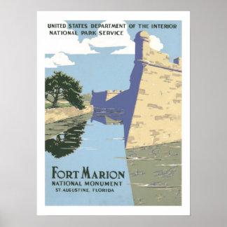 Fort Marion Vintage Travel Poster