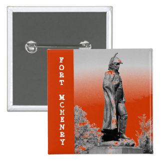 Fort McHenry Statue B+W 15 Cm Square Badge