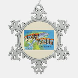 Fort Myers Florida FL Old Vintage Travel Souvenir Pewter Snowflake Decoration