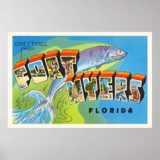 Fort Myers Florida FL Old Vintage Travel Souvenir Poster