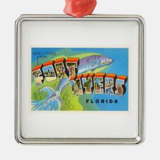 Fort Myers Florida FL Old Vintage Travel Souvenir Silver-Colored Square Decoration