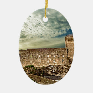Fort on the hill ceramic oval decoration