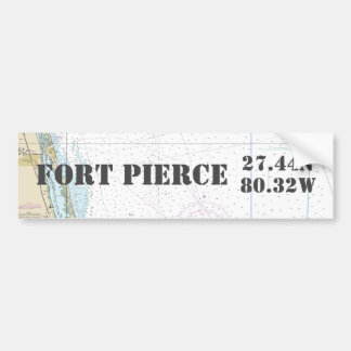 Fort Pierce FL Latitude Longitude Navigation Chart Bumper Sticker