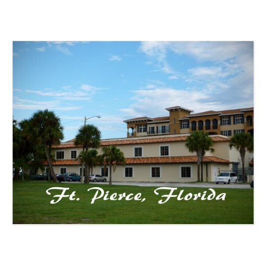 fort pierce florida downtown library postcard