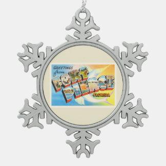 Fort Pierce Florida FL Old Vintage Travel Souvenir Pewter Snowflake Decoration