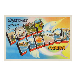 Fort Pierce Florida FL Old Vintage Travel Souvenir Poster