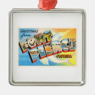 Fort Pierce Florida FL Old Vintage Travel Souvenir Silver-Colored Square Decoration